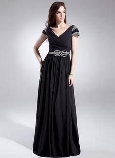Çan/Prenses Kalp Kesimli Uzun Etekli Chiffon Mezuniyet Elbisesi Ile Pullarda