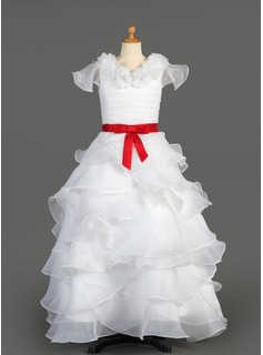 A-Line/Princess Floor-length Flower Girl Dress - Taffeta/Organza Sleeveless Scoop Neck With Ruffles/Sash/Flower(s)/Bow(s)