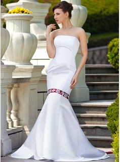 Trumpet/Mermaid Strapless Watteau Train Satin Wedding Dress With Sash Beading Appliques