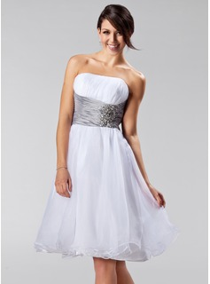 A-Line/Princess Strapless Knee-Length Organza Bridesmaid Dress With Ruffle Sash Beading