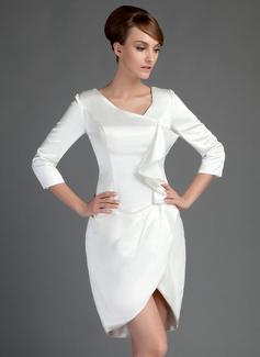 Sheath/Column Short/Mini Charmeuse Mother of the Bride Dress With Cascading Ruffles