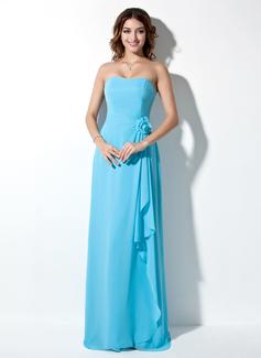 Çan/Prenses Askısız Uzun Etekli Chiffon Nedime Elbisesi