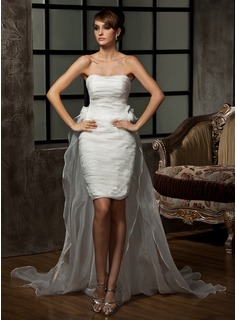 Sheath/Column Sweetheart Asymmetrical Detachable Organza Wedding Dress With Ruffle Flower(s)