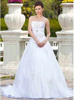 Ball-Gown Sweetheart Chapel Train Organza Satin Wedding Dress With Embroidered Beading