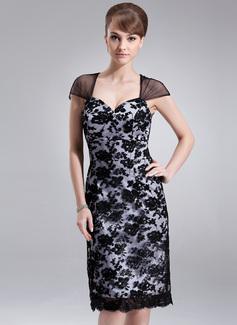 Wąska Kochanie Do Kolan Charmeuse Lace Suknia dla Mamy Panny Młodej
