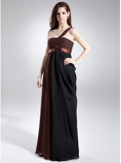 Empire One-Shoulder Floor-Length Chiffon Chiffon Maternity Bridesmaid Dress With Ruffle