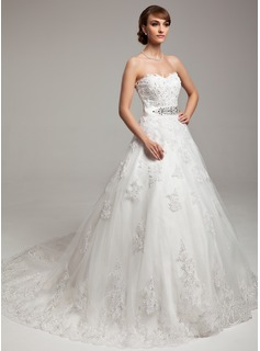 Ball-Gown Sweetheart Chapel Train Tulle Charmeuse Wedding Dress With Lace Beading Bow(s)