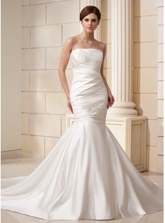 Trumpet/Mermaid Strapless Cathedral Train Satin Wedding Dress With Ruffle