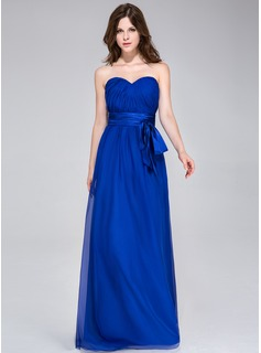 A-Line/Princess Sweetheart Floor-Length Chiffon Charmeuse Bridesmaid Dress With Ruffle Bow(s)
