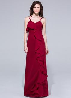 Etui-Linie Träger Bodenlang Chiffon Abendkleid mit Gestufte Rüschen