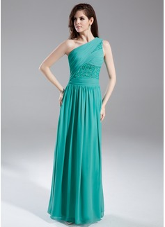 Vestidos princesa/ Formato A Um ombro Vestidos longo Chifon Vestido de festa com Pregueado Beading Sequins (020015857)