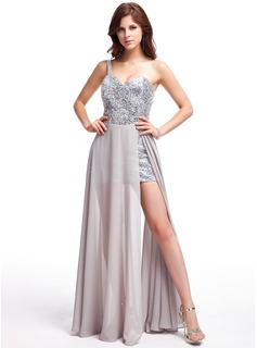 A-Line/Princess One-Shoulder Asymmetrical Chiffon Sequined Prom Dress With Beading