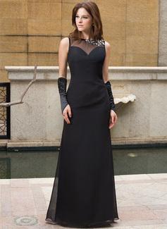 Sheath/Column Scoop Neck Floor-Length Chiffon Evening Dress With Beading