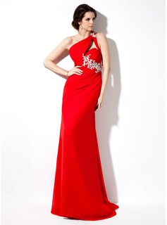 Sheath/Column One-Shoulder Sweep Train Chiffon Evening Dress With Ruffle Beading Appliques Lace Sequins