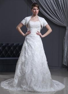 A-Line/Principessa A cuore Coda a strascico cappella Raso Abiti da sposa con Perline Di Appliques Pizzo