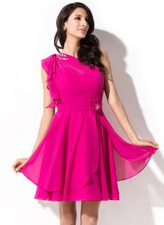 A-Line/Princess One-Shoulder Short/Mini Chiffon Homecoming Dress With Beading Sequins Cascading Ruffles