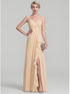 A-Line/Princess V-neck Floor-Length Chiffon Lace Evening Dress With Split Front Cascading Ruffles