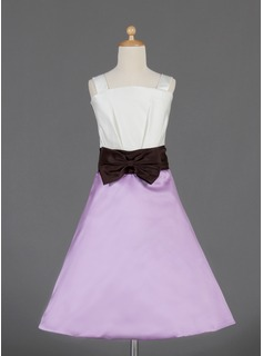 A-Line/Princess Knee-length Flower Girl Dress - Satin Sleeveless Square Neckline With Bow(s)