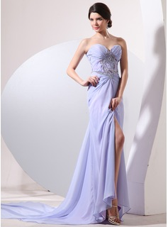 A-Line/Princess Sweetheart Watteau Train Chiffon Evening Dress With Ruffle Beading Split Front
