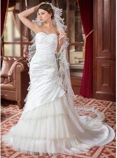 Trumpet/Mermaid Sweetheart Chapel Train Taffeta Tulle Wedding Dress With Lace Beading Flower(s) Sequins Cascading Ruffles