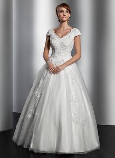 Corte A/Princesa Escote en V Hasta el suelo Satén Tul Vestido de novia con Encaje Lentejuelas