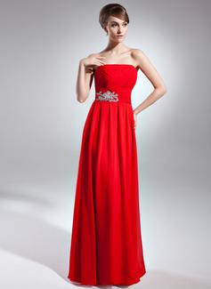 Çan/Prenses Askısız Uzun Etekli Chiffon Gelin Annesi Elbisesi Ile Büzgü Pullarda