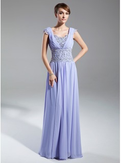 A-Line/Princess Scoop Neck Sweep Train Chiffon Mother of the Bride Dress With Ruffle Lace Beading Sequins