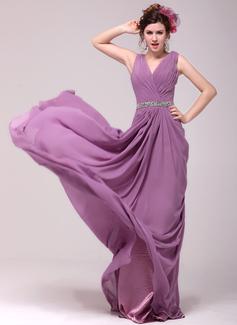 Vestidos princesa/ Formato A Decote V Cauda vassoura Tecido de seda Vestidos de festa com Pregueado Bordado (017014010)