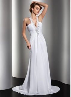 A-linjeformat Grimma Sweep släp Chiffong Bröllopsklänning med Rufsar Pärlbrodering Applikationer Spetsar Paljetter
