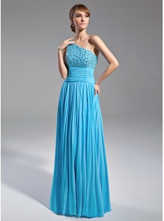 A-Line/Princess One-Shoulder Floor-Length Chiffon Mother of the Bride Dress With Beading Pleated