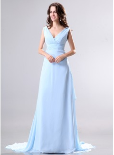 A-Line/Princess V-neck Watteau Train Chiffon Holiday Dress With Bow(s) Cascading Ruffles