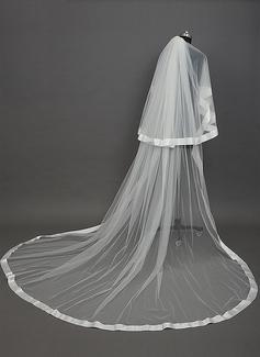 2 couches Voiles de mariée cathédrale avec Bord en ruban