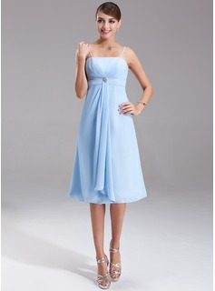 Empire Knee-Length Chiffon Bridesmaid Dress With Ruffle Crystal Brooch