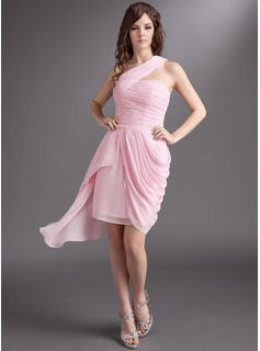 Sheath One-Shoulder Asymmetrical Chiffon Cocktail Dress With Ruffle