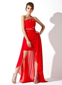 Corte A/Princesa Un sólo hombro Asimétrico Chifón Vestido de baile de promoción con Volantes Bordado