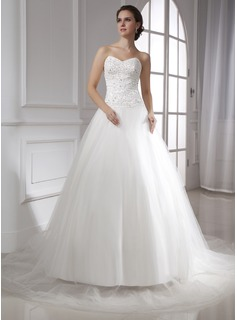 Ball-Gown Sweetheart Chapel Train Satin Tulle Wedding Dress With Lace Beading