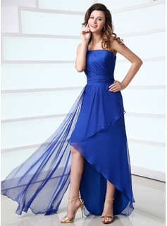 A-Line/Princess One-Shoulder Asymmetrical Chiffon Holiday Dress With Ruffle