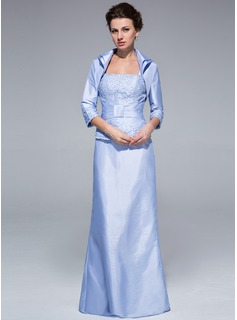 Sheath Square Neckline Floor-Length Taffeta Lace Mother of the Bride Dress With Ruffle
