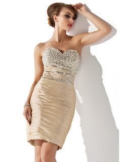 Sheath Sweetheart Knee-Length Taffeta Cocktail Dress With Ruffle Beading Sequins