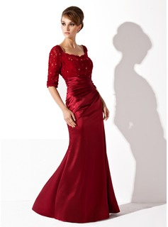 Trumpet/Mermaid Scoop Neck Floor-Length Charmeuse Lace Mother of the Bride Dress With Ruffle Beading