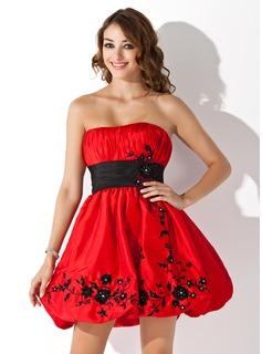 Empire Strapless Short/Mini Taffeta Homecoming Dress With Ruffle Sash Beading Appliques Lace