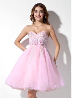 Empire Sweetheart Knee-Length Organza Satin Homecoming Dress With Ruffle Lace Beading Flower(s)