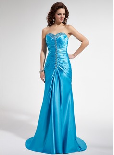 A-Line/Princess Sweetheart Sweep Train Charmeuse Prom Dress With Ruffle Beading Sequins
