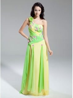 A-Line/Princess One-Shoulder Watteau Train Chiffon Prom Dress With Beading Appliques Cascading Ruffles