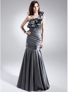 Trumpet/Mermaid One-Shoulder Sweep Train Taffeta Prom Dress With Ruffle Beading