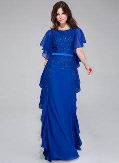 A-لاين أميرة عنق مدور الطول الأرضي Chiffon Charmeuse فستان سهرة مع Lace مطرز بالخرز