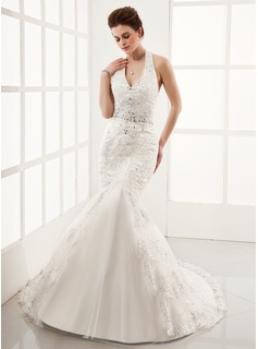 Mermaid Halter Chapel Train Satin Tulle Wedding Dress With Lace Beadwork