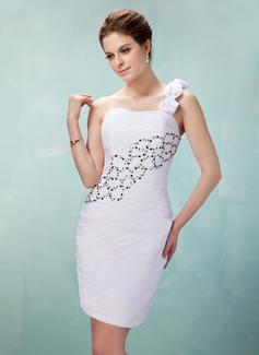 Etui-Linie One-Shoulder-Träger Kurz Chiffon Cocktailkleid mit Rüschen Perlen verziert Blumen Pailletten
