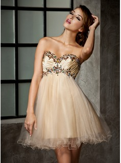 Empire Sweetheart Short/Mini Taffeta Tulle Homecoming Dress With Ruffle Beading