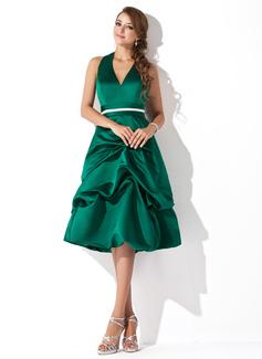 Çan/Prenses Yular Diz Hizası Satin Nedime Elbisesi Ile Büzgü Kuşaklar
